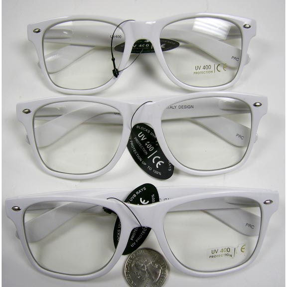CLEAR LENS, WHITE FRAMES, BLUE BROTHERS FRAMES